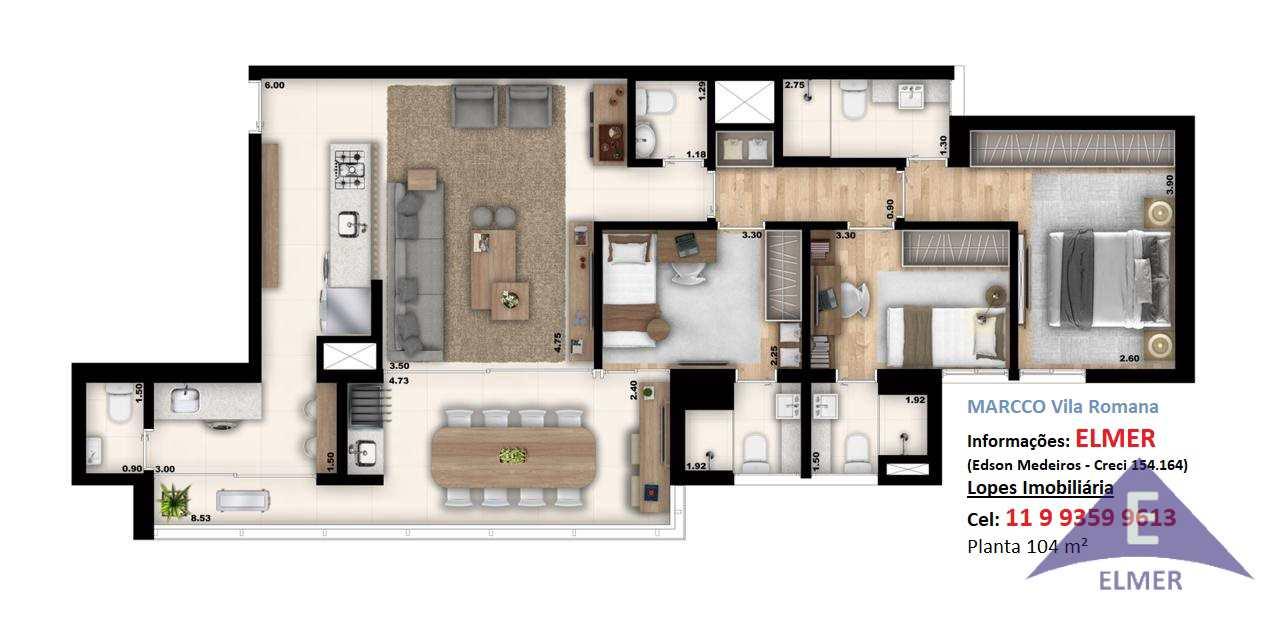 MARCCO Vila Romana - Apto 104 m2-2 vagas-R$ 1.22 mi, Cod: 251