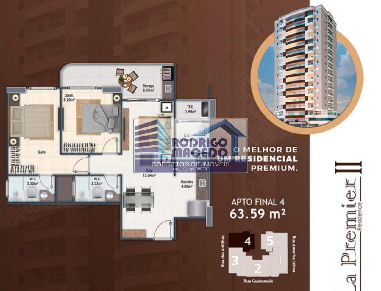 Apartamento com 2 dorms, Guilhermina, Praia Grande - R$ 340 mil, Cod: 1897