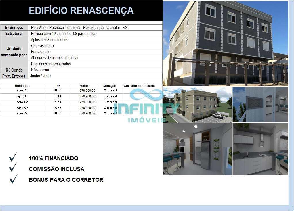 Apartamento com 3 dorms, Renascença, Gravataí - R$ 279 mil, Cod: 791