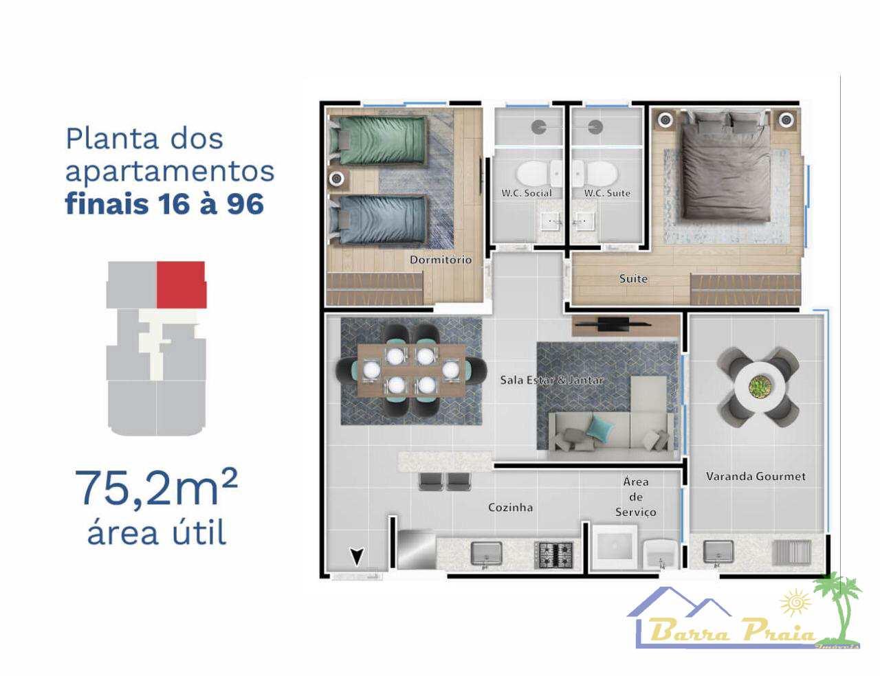 Apartamento com 1 dorm, Centro, Itanhaém, Cod: 102