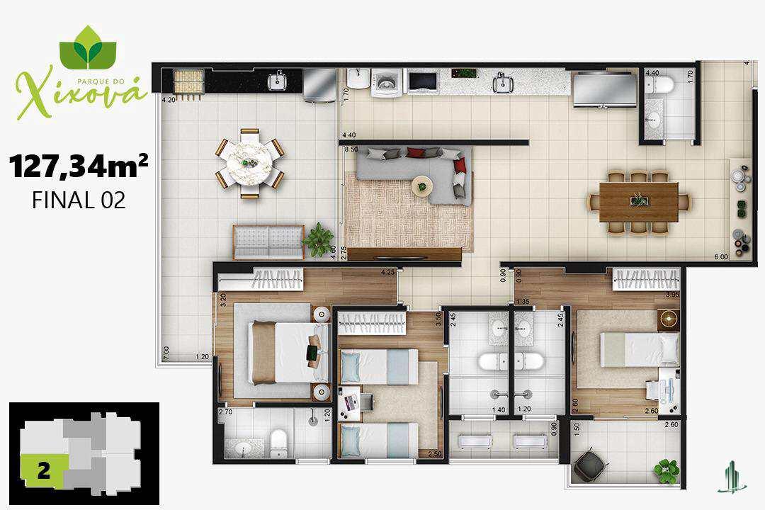 Final 02a - 3suítes,  2 vagas - 127,34 m²
