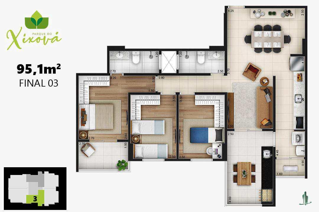 Final 03a - 1 suíte, 2 vagas - 95,10 m²