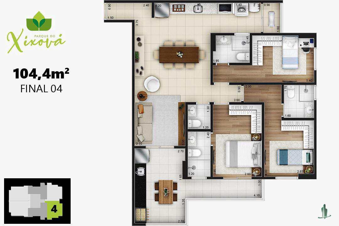 Final 04a - 3 suítes, 2 vagas - 104,40 m²