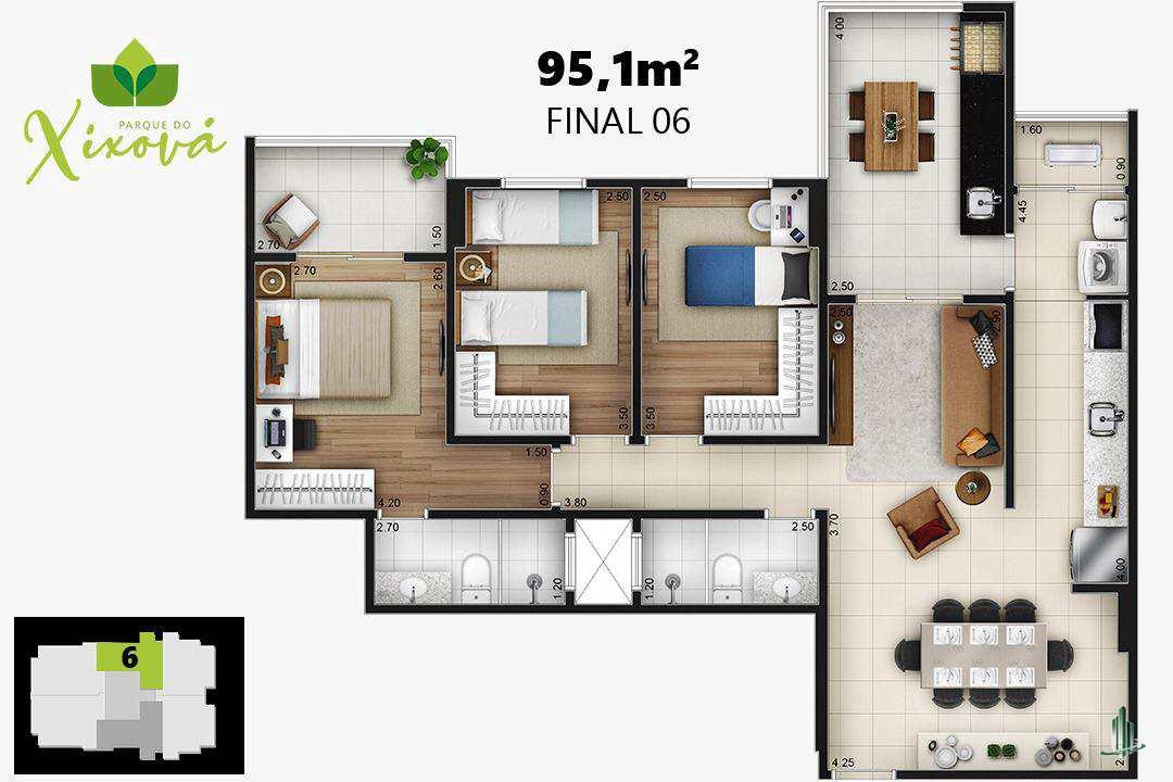 Final 06a - 1 suíte, 1 vaga - 95,10 m²