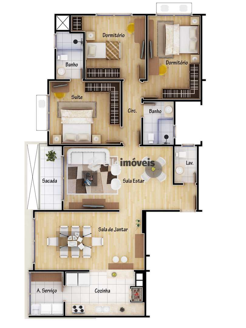 Apartamento em Lages, bairro Coral