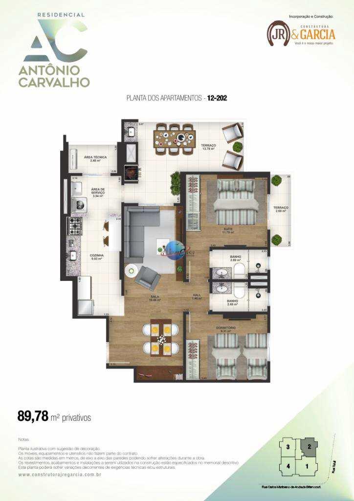 Apartamento com 2 dorms, Aviação, Praia Grande