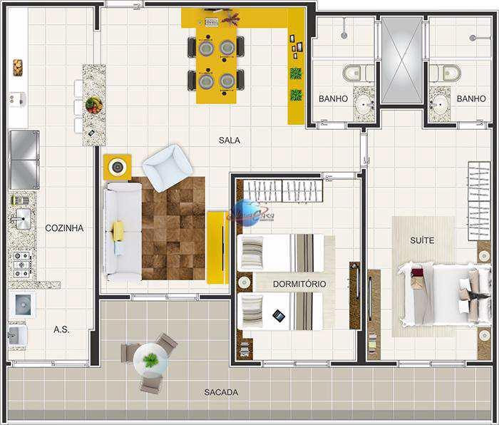 Apartamento com 2 dorms, Ocian, Praia Grande - R$ 415 mil, Cod: 4593