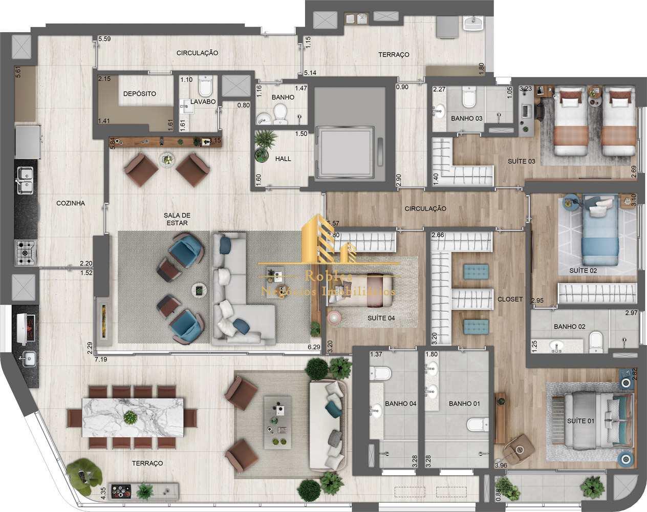 Apartamento com 4 dorms, Chácara Santo Antônio (Zona Sul), São Paulo - R$ 2.94 mi, Cod: 1157