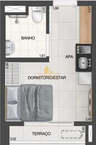 Studio com 1 dorm, Moema, São Paulo - R$ 389 mil, Cod: 1651