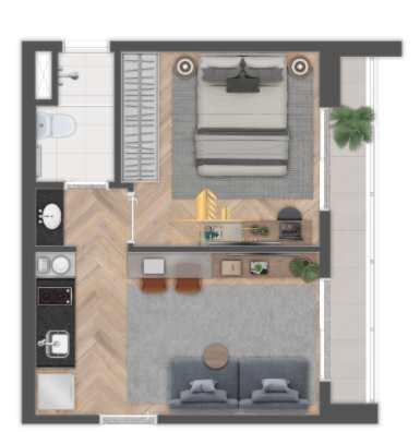Apartamento com 1 dorm, Brooklin, São Paulo - R$ 340 mil, Cod: 1696