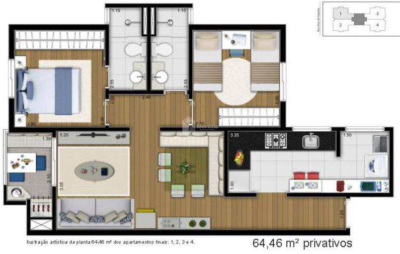 Apartamento com 2 dorms, Campestre, Santo André - R$ 448 mil, Cod: 933