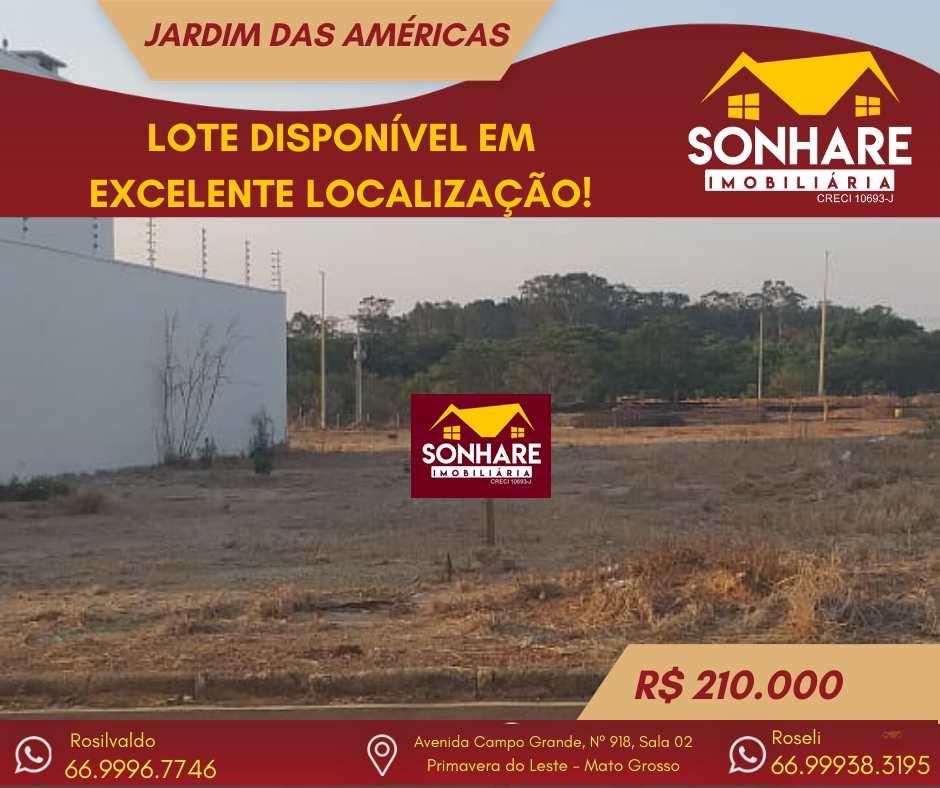 Terreno, Jardim das Américas, Primavera do Leste - R$ 210 mil, Cod: 262