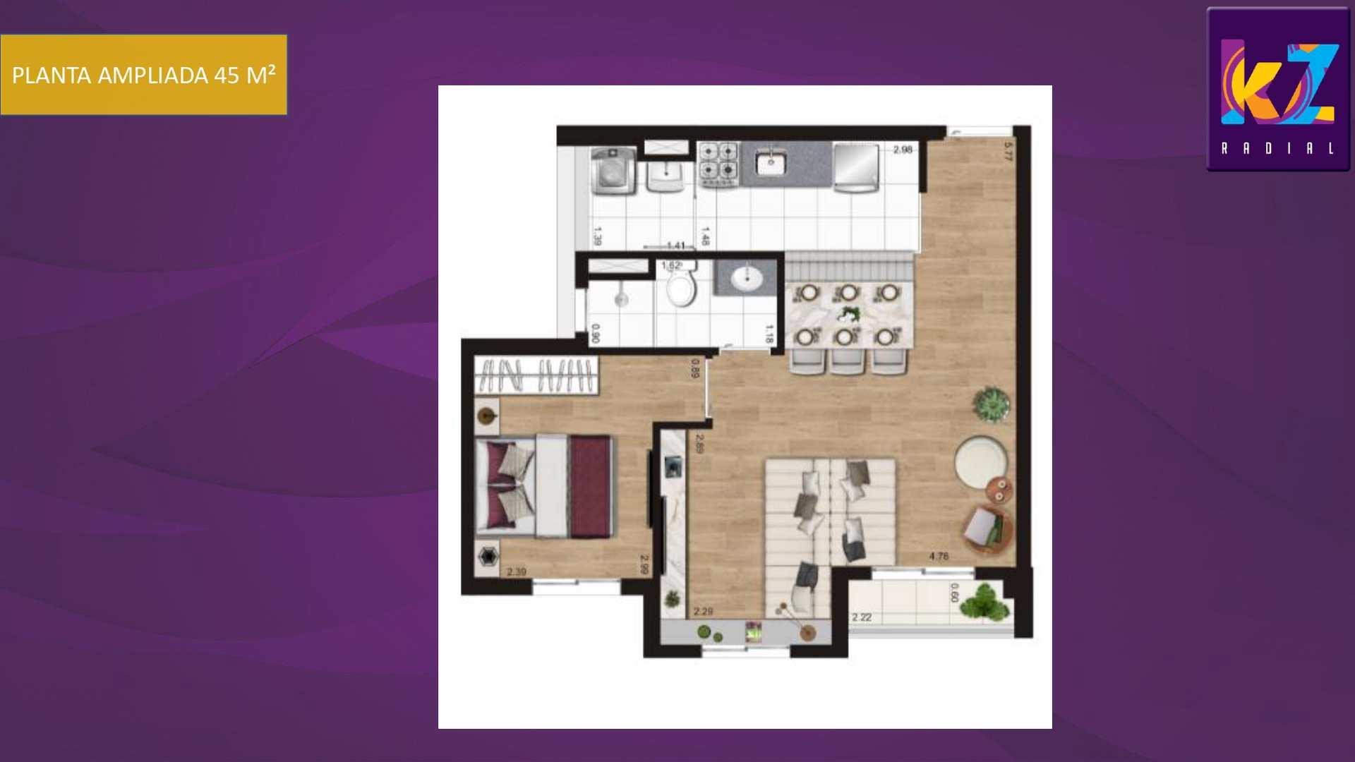 Planta 45 m² - Ampl.