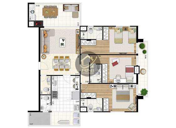 Apartamento com 3 dormitórios à venda, 106 m² por R$ 875.371,00 - Ponta da Praia - Santos/SP