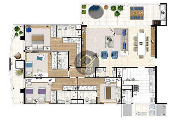 Cobertura com 4 dormitórios à venda, 362 m² por R$ 3.474.541,00 - Ponta da Praia - Santos/SP